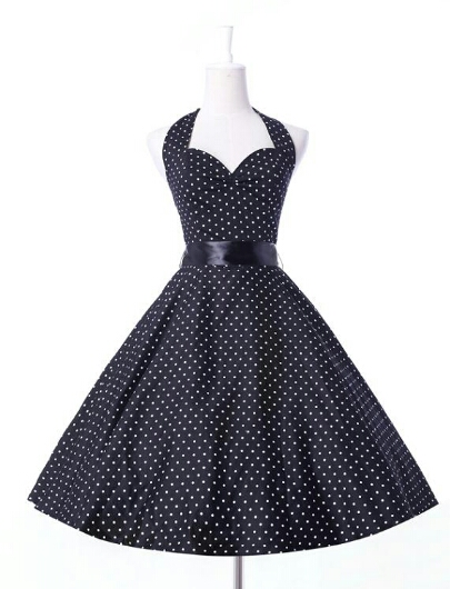collections dress with white polka dots