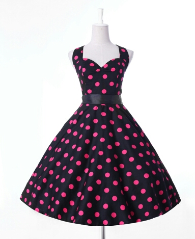 88f21166fe41 June  50 s style black   pink polka dot swing dress
