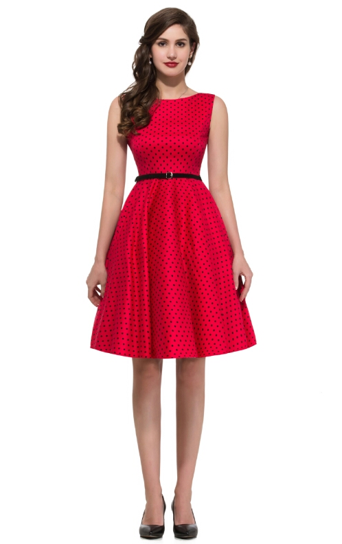 222867608f0 Audrey  dress in red with black polka dots