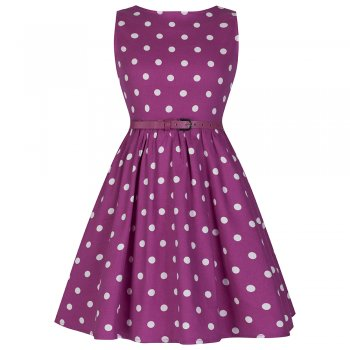 60bdb89d8 Mini 'Audrey' Pink Polka Dot Swing Party Dress by Lindy Bop | The Retro  Collection
